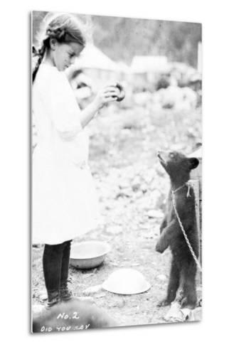 Girl and Bear Cub, C.1900-16--Metal Print