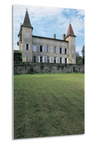 Lawn in Front of a Castle, Miramont Latour, Midi-Pyrenees, France--Metal Print
