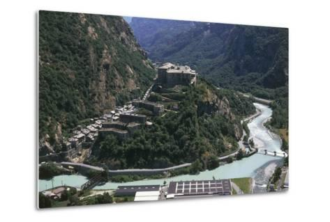 Aerial View of a Fort, Forte Di Bard, Valle D'Aosta, Italy--Metal Print