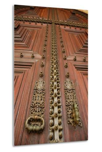 Portugal, Evora, Cathedral of Virgin Mary, Door, Detail--Metal Print