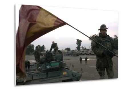 Spanish Troops Patrol the Streets of Diwaniyah, Iraq--Metal Print