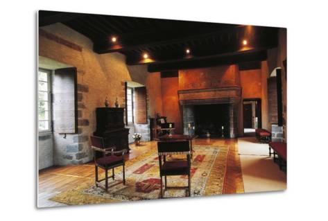 Hall of Chateau of Conros, Arpajon-Sur-Cere, Auvergne, France--Metal Print