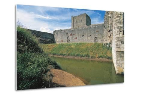 Moat and Walls of Portchester Castle, England, United Kingdom--Metal Print