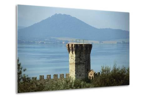 Tower Near a Lake, Lake Trasimeno, Umbria, Italy--Metal Print