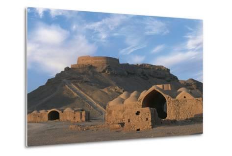 Tower of Silence and Zoroastrian Village, Near Yazd, Iran--Metal Print