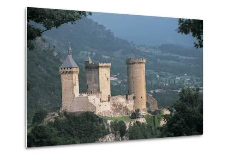 Castle on a Hill, Foix, Midi-Pyrenees, France--Metal Print