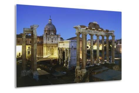 Night View of Roman Forum, Rome, Lazio, Italy--Metal Print