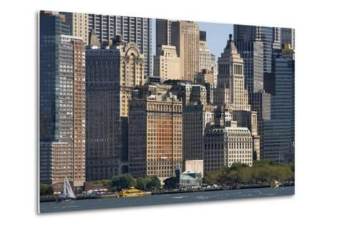 Skyscrapers Waterfront from Battery Park and Pier A, New York, Usa--Metal Print