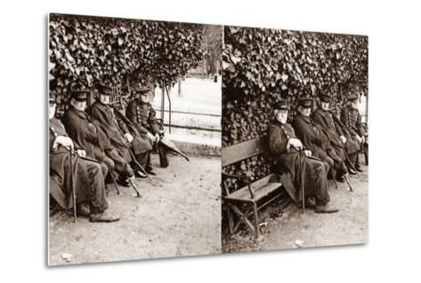 Stereoscopic View of Invalids in a Square, Paris, 1890--Metal Print