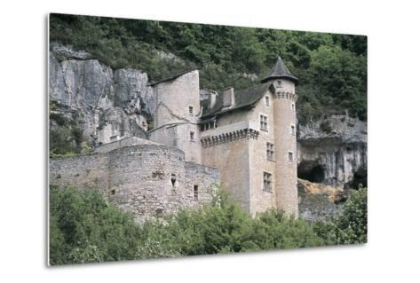 Low Angle View of a Castle, Larroque-Toirac, Midi-Pyrenees, France--Metal Print