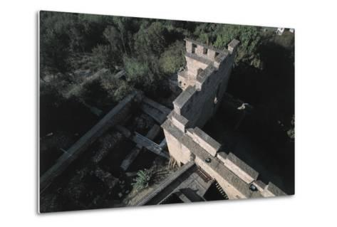 High Angle View of a Castle, Fallavier Castle, Rhone-Alpes, France--Metal Print