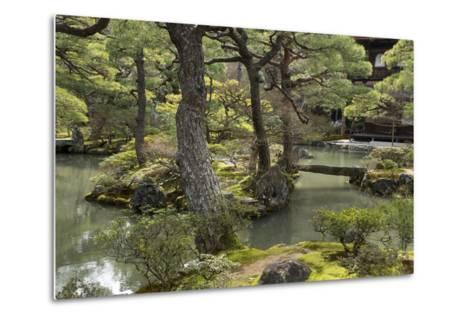A Japanese Garden with Pond and the Silver Pavilion in the Background, at Ginkaku-Ji-Macduff Everton-Metal Print