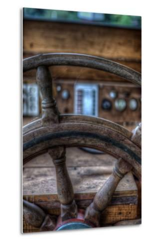 Old Boat Steering Wheel-Nathan Wright-Metal Print