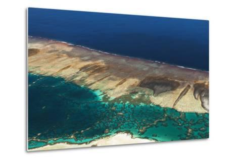 Aerial View of the Fringing Reef and the Inside Lagoon of Millennium Atoll-Mauricio Handler-Metal Print