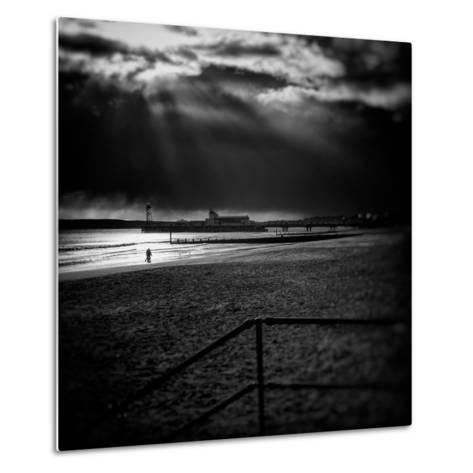 Beach Scene in England with Pier-Rory Garforth-Metal Print