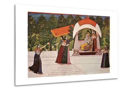 Krishna and Radha in a Pavilion--Metal Print
