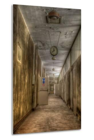 Derelict Interior with Clock-Nathan Wright-Metal Print