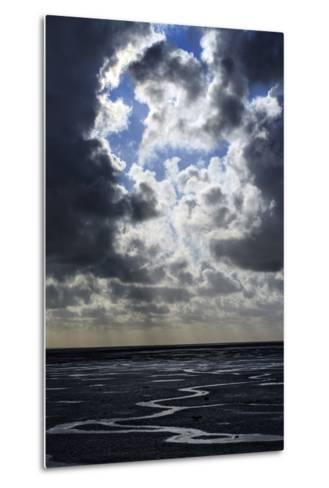 The Ocean Floor at Low Tide in Mont Saint Michel Bay. Heavy Clouds Above and Virga in the Distance-Babak Tafreshi-Metal Print