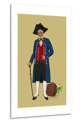 Alsacian Man from Saverne with Pipe, Tri-Cornered Hat and Wears Britches-Elizabeth Whitney Moffat-Metal Print