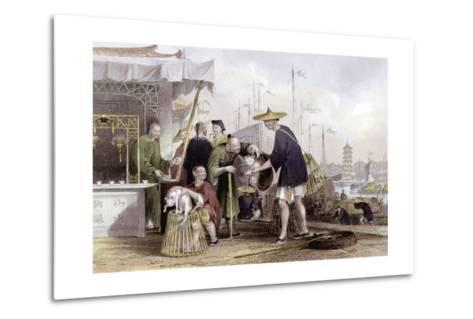 Cat Tea Merchants-Thomas Allom-Metal Print
