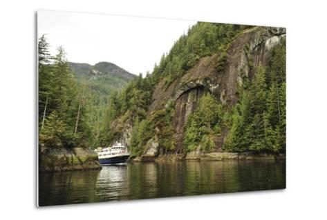 A Small Cruise Ship Passes Through a Narrow, Cliff-Lined Passage in Misty Fjords National Monument-Jonathan Kingston-Metal Print