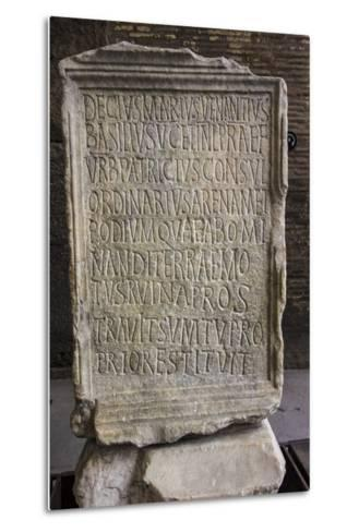 Close Up of an Ancient Inscription at the Colosseum-Will Van Overbeek-Metal Print