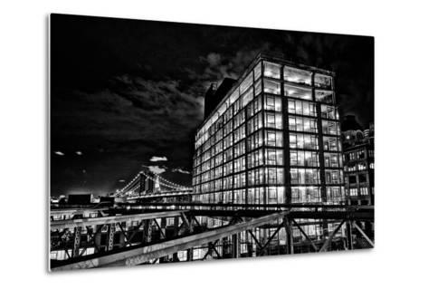 Dumbo and the Manhattan Bridge Seen from the Brooklyn Bridge-Kike Calvo-Metal Print