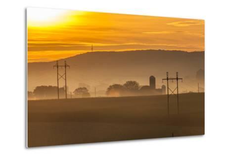 Sunrise and Fog over a Farm Along Pennsylvania Route 23 East of Lancaster, Pennsylvania-Richard Nowitz-Metal Print