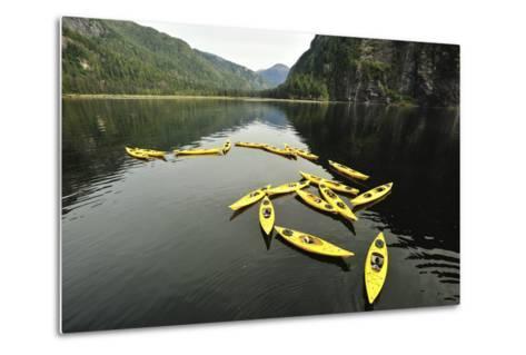 Tethered Yellow Sea Kayaks Floating in Rudyerd Bay-Jonathan Kingston-Metal Print