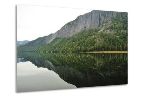 Tall Cliffs and Conifer Trees on the Shore of Rudyerd Bay-Jonathan Kingston-Metal Print