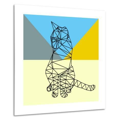 Black Party Cat Polygon-Lisa Kroll-Metal Print