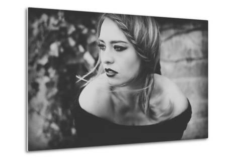 Young Woman Wearing a Black Dress-Sabine Rosch-Metal Print