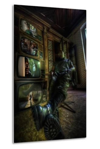 Male Figure in Abandoned Building with Televisions-Nathan Wright-Metal Print