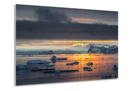 Sunset Off Andersson Island, with Coastal Mountains and Ice Floes-Kent Kobersteen-Metal Print