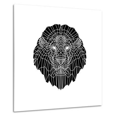 Lion Head Black Mesh 2-Lisa Kroll-Metal Print