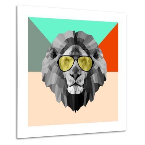Party Lion in Glasses-Lisa Kroll-Metal Print
