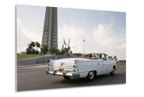 Classic American Car by Jose Marti Memorial, Plaza De La Revolucion, Revolution Square, Havana-Eric Kruszewski-Metal Print