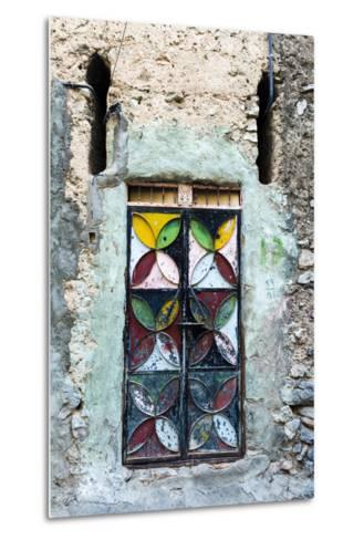 A Painted and Decorated Steel Door in an Ancient Mud Brick Village-Jason Edwards-Metal Print