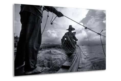 Andaman Sea: Fishermen Haul in their Net in the Andaman Sea-Ben Horton-Metal Print