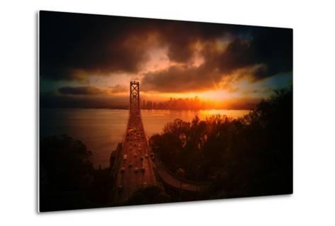 The Other Golden Bridge, Bay Bridge and Sun Burst, San Francisco-Vincent James-Metal Print