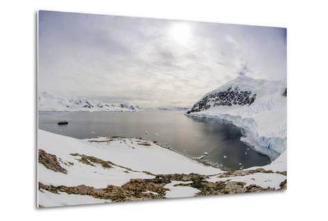 Wide Angle of a Ship and Glacier at Neko Harbor on the Antarctic Peninsula-Rich Reid-Metal Print