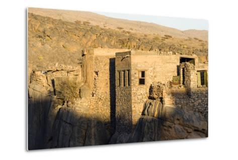 Sunset Touches the Walls of an Ancient Mud Brick Village on a Desert Gorge Mountainside-Jason Edwards-Metal Print