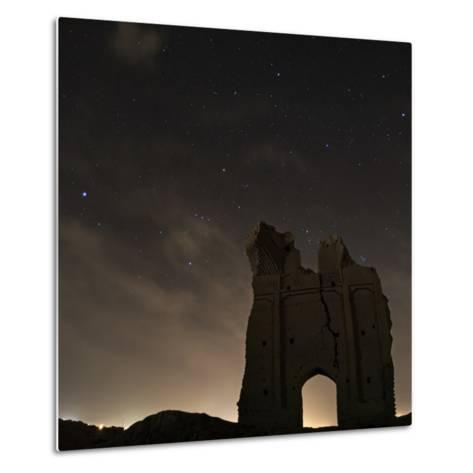 Sirius and Constellations Orion and Taurus over Ruins of the Ancient City Gate of Sar Yazd-Babak Tafreshi-Metal Print