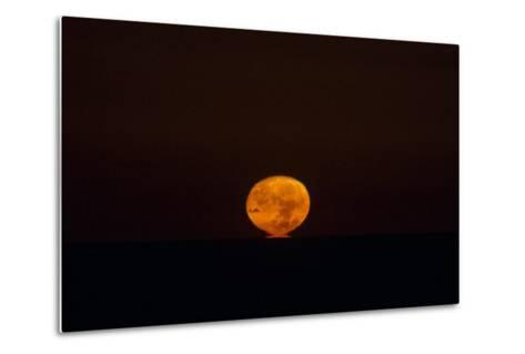 The Nearly Full Moon, Distorted by Atmospheric Refraction, Appearing to Sink into the Atlantic-Babak Tafreshi-Metal Print