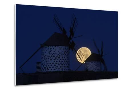 The Full Moon, a Wolf Moon, First Full Moon after the Winter Solstice, at Dawn Behind Windmills-Babak Tafreshi-Metal Print