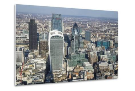 Elevated View of Skyscrapers in the City of London's Financial District, London, England, UK-Amanda Hall-Metal Print