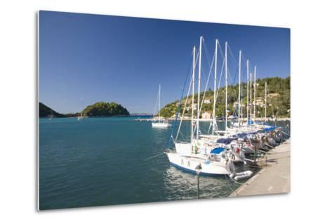 View across Lakka Bay, Yachts Lined Up Along the Quay, Lakka-Ruth Tomlinson-Metal Print