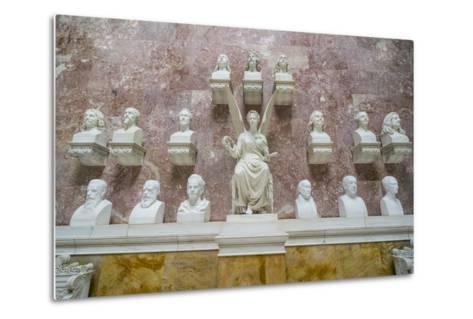 Commemorative Plaques in the Interior of the Neo-Classical Walhalla Hall of Fame on the Danube-Michael Runkel-Metal Print