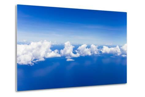 Cumulus Clouds Floating Above Flat Calm Seas on the Atlantic Ocean, Somewhere Near the Bahamas-Mike Theiss-Metal Print