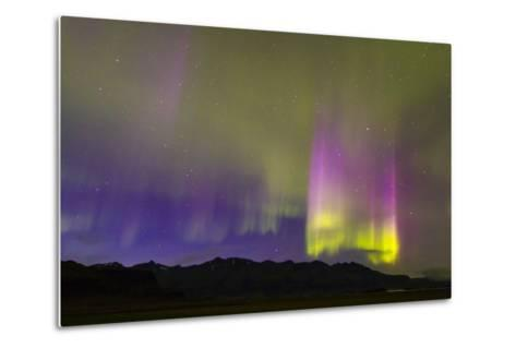 A Northern Lights Display with Strong Light Pillars During a Geomagnetic Solar Storm-Mike Theiss-Metal Print